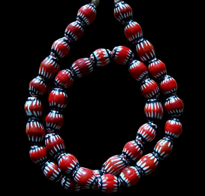 "21"" 37 Bead Antique Phoenician Blue, White, Red Six Layer Chevron Glass Necklace"
