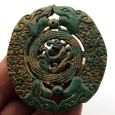 """P439 Antique China Han Dynasty Old Jade Double Dragon Beast Amulet Pendant 2.8"""""""