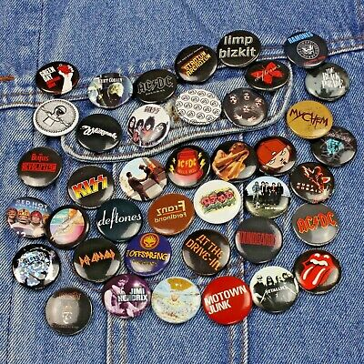 """Wholesale Lot of 40 x Pop Punk Rock Band Icons & Logo's 25mm (1"""") Pin Badges"""