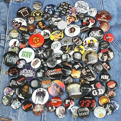 Wholesale Lot of 100 x Pop Punk Rock Metal Band Logo 25mm & 38mm Pin Badges
