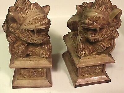 """Vintage Pair Chinese Temple Lion Foo Dogs 7"""" tall X5"""" Resin/ Stone??"""