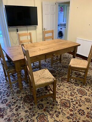 Large Pine Country Kitchen Table with Drawer, Seats 6-8, Antique Wax Finish