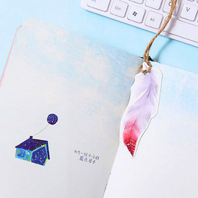 30pcs/box Feathers Bookmarks Books Marker of Page Stationery School TO