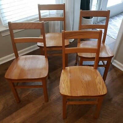 "Pair Vintage Solid Oak Wood Chairs 15"" Seat Childs Youth Desk School Free ship!"
