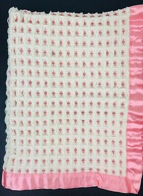 "Vintage ""Derw"" Pure Wool Baby Blanket 29x33 Made In Wales Pink Satin Trim"