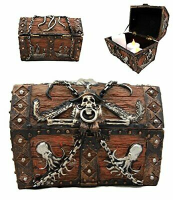"Ebros Octopus Pirate Skull Treasure Chest Box Jewelry Box Figurine 5""L"