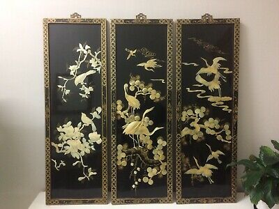 Original Vintage Oriental Crane Bird Wall Hanging Pictures Chinese Wooden Panels