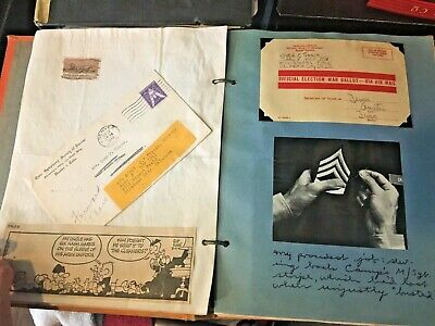 Antique Scrapbook 1940's: Cards-Pictures-Newspaper ads-War memorabilia