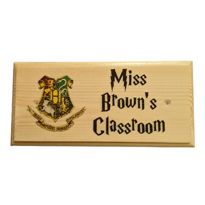 Personalised Harry Potter Sign, Teacher End Of Term Classroom Gift Black Wooden
