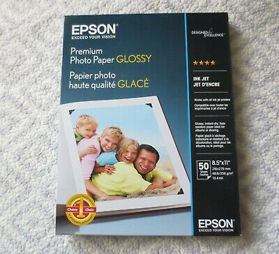 Epson Premium Glossy Photo Paper 8.5 x 11 Inches 50 Sheets Unopened S041667