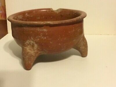 """SOLID 6"""" TRIPOD MAYAN POTTERY BOWL PRE COLUMBIAN MEXICO RED PATINA Exc.Cond!"""