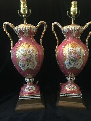 Very Fine Pair Of Sevres Style Pink Porcelain / Gold Gilt Lamps