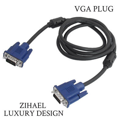 VGA 15 Pin Plug Computer Monitor Cable Wire Black and Blue Cord  4.9Ft