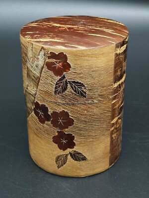 Vintage Japanese  Tea Canister/ Canddy Cherry Iron/ Prunus Bark Covered