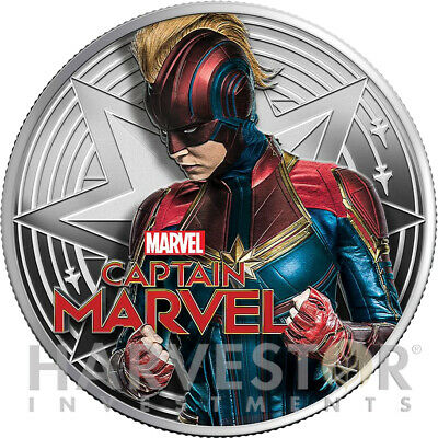 2019 Marvel - Captain Marvel - 1 Oz. Silver Coin - With Ogp/Coa - Mintage 1,500