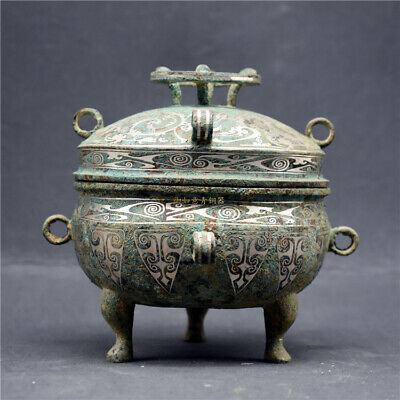 Nice Old Chinese Antique Bronze Silver Plating Vessel