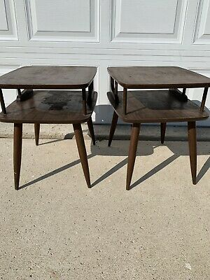 Mid Century Modern Pair of Two Tier Nightstands Dark Wooden Side Tables