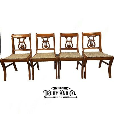 Regency Style Duncan Phyfe Antique Set 4 Lyre Back Dining Chairs
