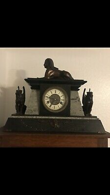 Antique French  Revival Bronze And Marble Egyptian Mantle Clock Circa 1867