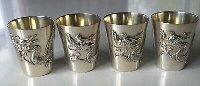 4 Antiques Chinese Export  Sterling Silver Dragon Cups
