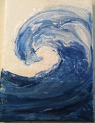 Aceo Acrylic Painting~The Wave~Artist~Marina Del Rey~Original