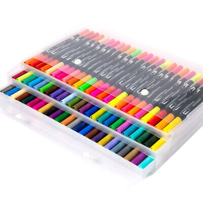 24/100 Colores / Set Pincel Dibujo + Fino con Doble Punta Base Agua Rotulador