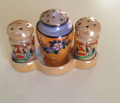 Vintage Art Deco Salt and pepper shakers Condiment Tray Lustre Jars 1940's