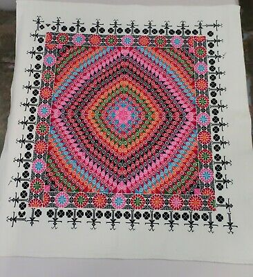 BEAUTIFUL HAND MADE VINTAGE LATVIAN CROSS STITCH EMBROIDERY 91cm x 81cm