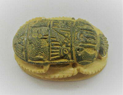 Large Antique Egyptian Glazed Faience Scarab With Heiroglyphics
