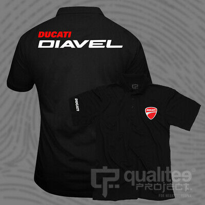 New Ducati Diavel Superbike Motorcycle Monster Corse Short Sleeve Polo Shirt