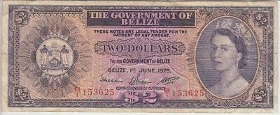 Belize Banknote P. 34-3625 2 Dollars 1975, F WE COMBINE