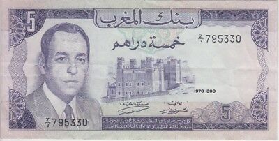 Morocco Banknote P56r-5330 5 Dirhams 1970 Replacement, Prefix Z/3, VF