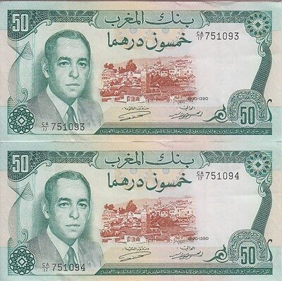 MOROCCO BANKNOTE  P58a 50 DIRHAMS 1970 PAIR OF CONSECUTIVE SERIAL NBR, VF-EF