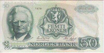 Norway Banknote P37b-7517 50 Kroner 1979, stain on back, VF