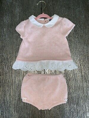 $54 JANIE & JACK Girls Pink EYELET Ruffle Cotton Set Top & Bloomers 6-12M Months