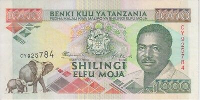 TANZANIA BANKNOTE  P. 27a 1000 1.000 1,000 SHILLINGS SIG.9   EXTREMELY FINE