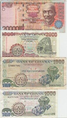 Ghana banknote 7 different notes, Circulated,    WE COMBINE