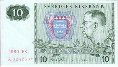 SWEDEN BANKNOTE P.52r 3-4263  10 KRONOR 1980 REPLACEMENT ALMOST UNCIRCULATED