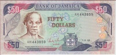 JAMAICA BANKNOTE P73a-3859 50 DOLLARS 1.8.88, UNC