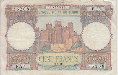 Morocco Banknote P45-5208 100 Francs 9-1-50, Alphabet F.27, tear at top, F