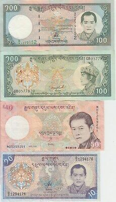 Bhutan banknote  collection of 8 different notes, VF or BETTER WE COMBINE