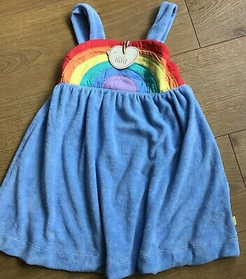 Little bird By Jools Oliver girls Age 9-12 Mths Blue Rainbow Towelling dress 🌈