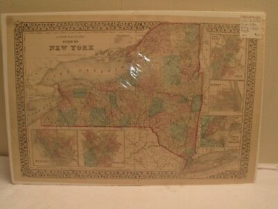 Antique Map New York State, County Map, C 1877 , Inset Troy Nyc , Buffalo , Roch