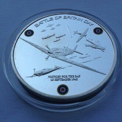 BATTLE OF BRITAIN DAY 10th ANNIVERSARY 1940-2010 Silver Plate Coin in capsule