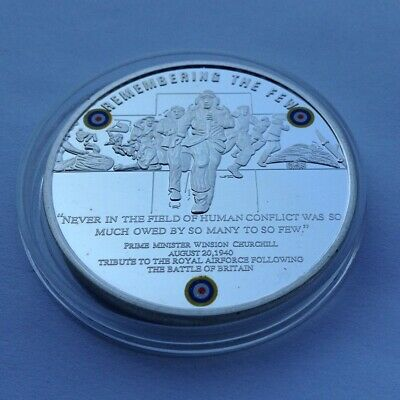 BATTLE OF BRITAIN 10th ANNIVERSARY 1940-2010 Silver Plate Coin in capsule