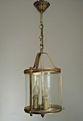French Antique Brass Round Glass Hall Lantern 3 Candle Lights Ornate Frame 1411
