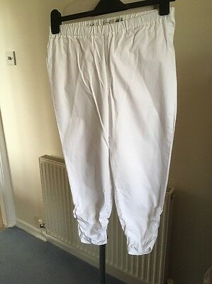 Girls White 3/4 Cotton Trousers By Jackpot Size M 14-15 Yrs