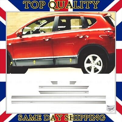 Chrome Side Door Streamer 6 pcs S.STEEL to fits Nissan Qashqai +2 2006-2013