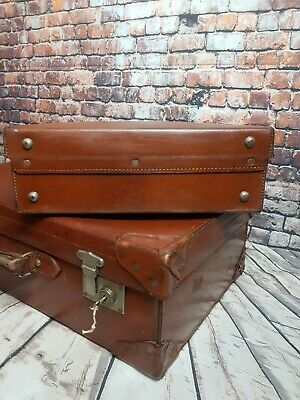 Antique Pair of Brown Leather Suitcases. Old Vintage Travel Trunk Case.With Key