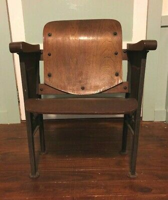 Antique Art Deco Folding Wood Cast Iron Movie Opera Theater Seat Chair Decor